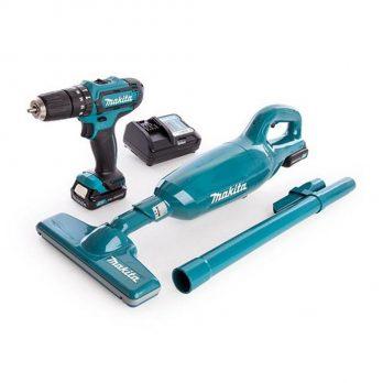 PT Makita Cordless Hammer Driver Drill 12V Li Ion + Vacuum Cleaner + Drill Bit Set