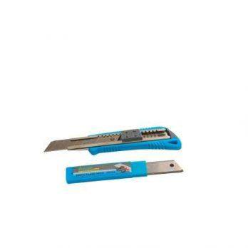 Utility Knife +10pcs Blade Auto Load Blue Body Grey Grip D/B